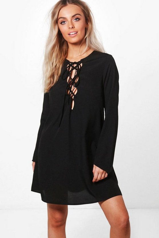 Abi Extreme Lace Up Shift Dress