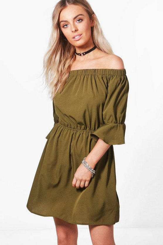 Lauren Off The Shoulder Frill Sleeve Skater Dress