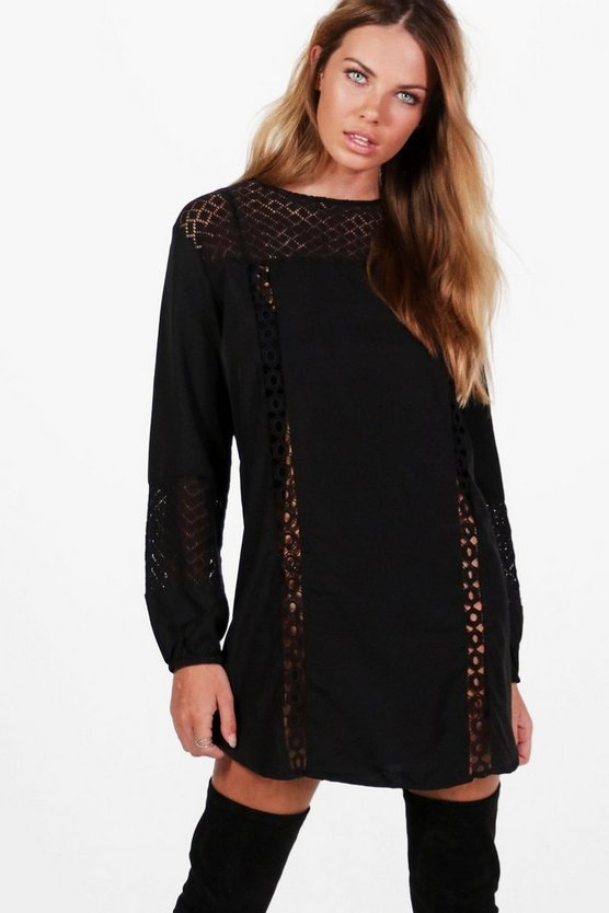 Georgina Lace Insert Long Sleeve Shift Dress