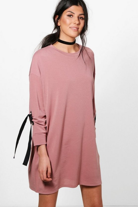 Indi Sweat Dress With Eyelet Tie Sleeve Detail