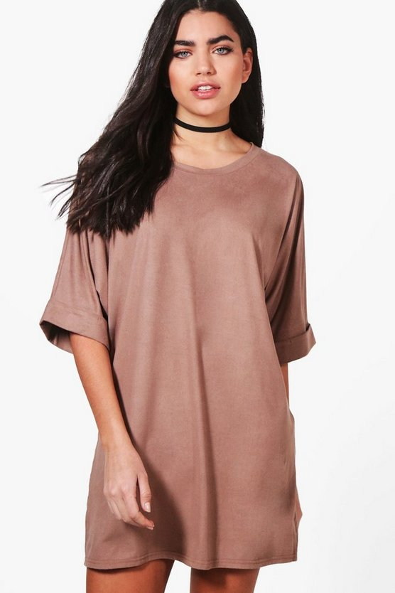 Abi Suedette Oversized T-Shirt Dress