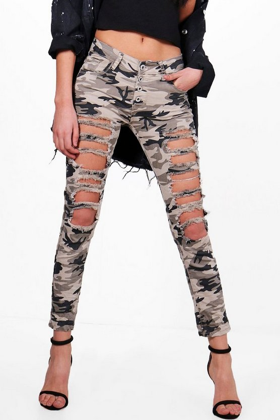 Amelia All Over Distress Camo Skinny Jeans