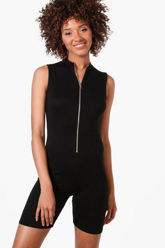 Laura High Neck Zip Up Skinny Playsuit