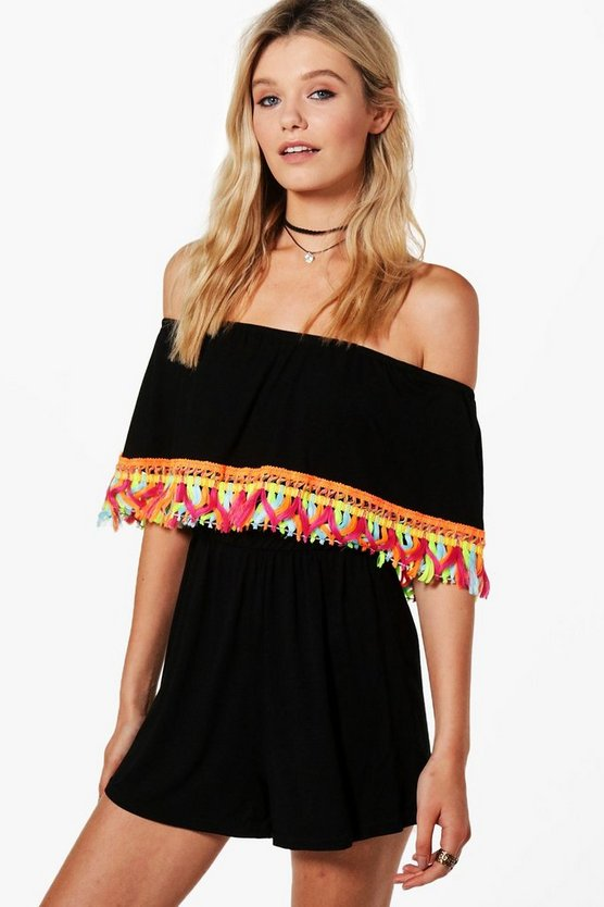 Louise Tassel Trim Bandeau Playsuit