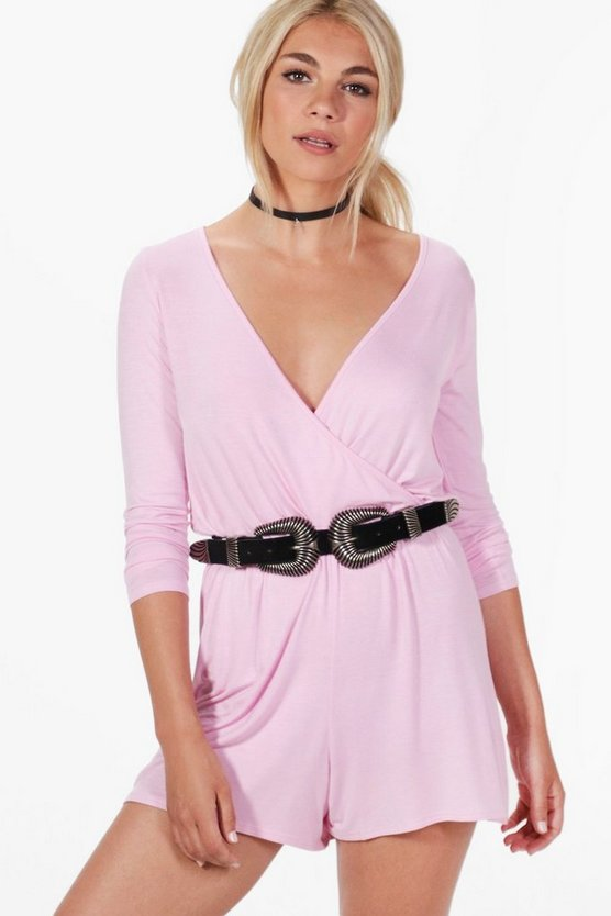 Sophie Wrap Over Jersey Playsuit