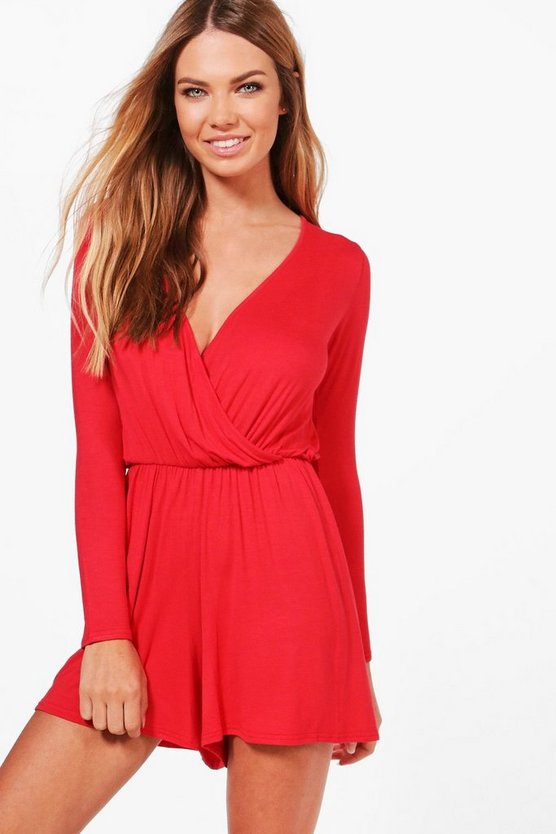 Lorraine Wrap Over Jersey Playsuit