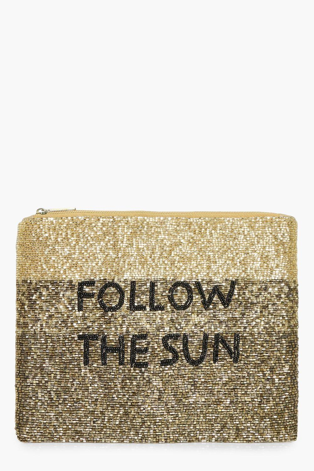 Follow the Sun Slogan Embellished Clutch - gold -