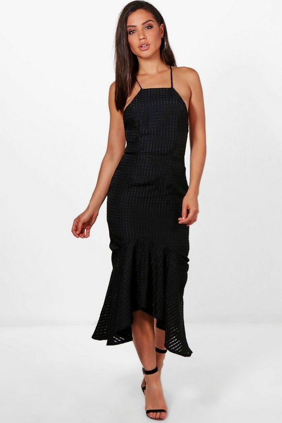 Lara Textured Fabric Frill Hem Midi Dress