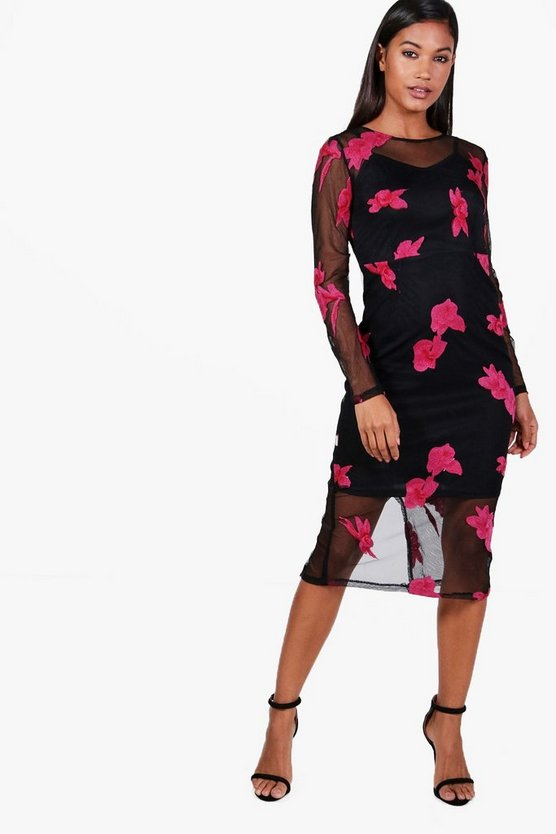 Boutique Embroidered Mesh Midi Dress
