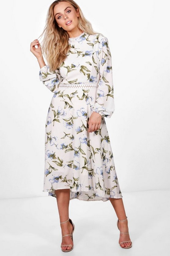 Zena Floral Open Back Midi Skater Dress