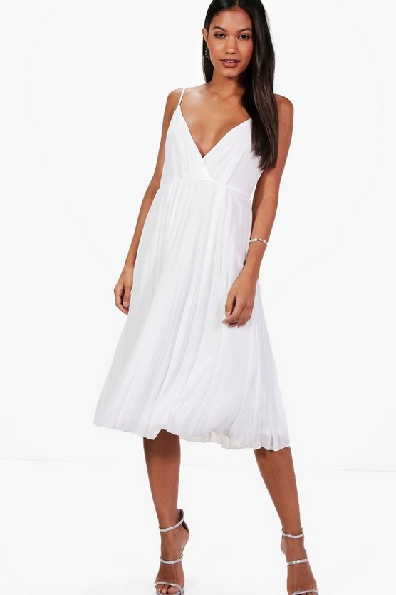 Frankie Chiifon Pleated Midi Skater Dress