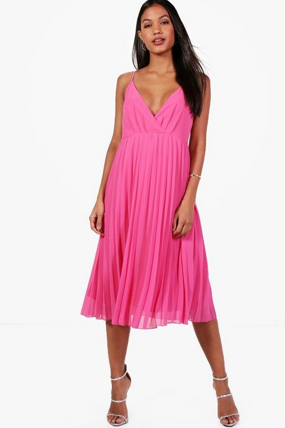 Chiffon Pleated Midi Skater Dress