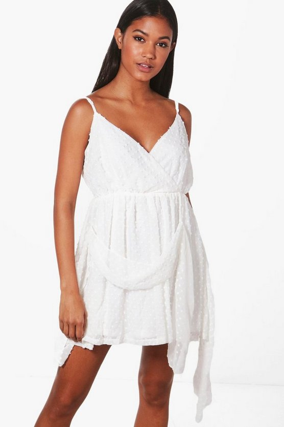 Beatrice Dobby Chiffon Drape Skater Dress