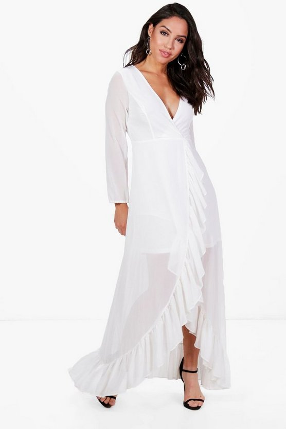 Chiffon Frill Wrap Maxi Dress
