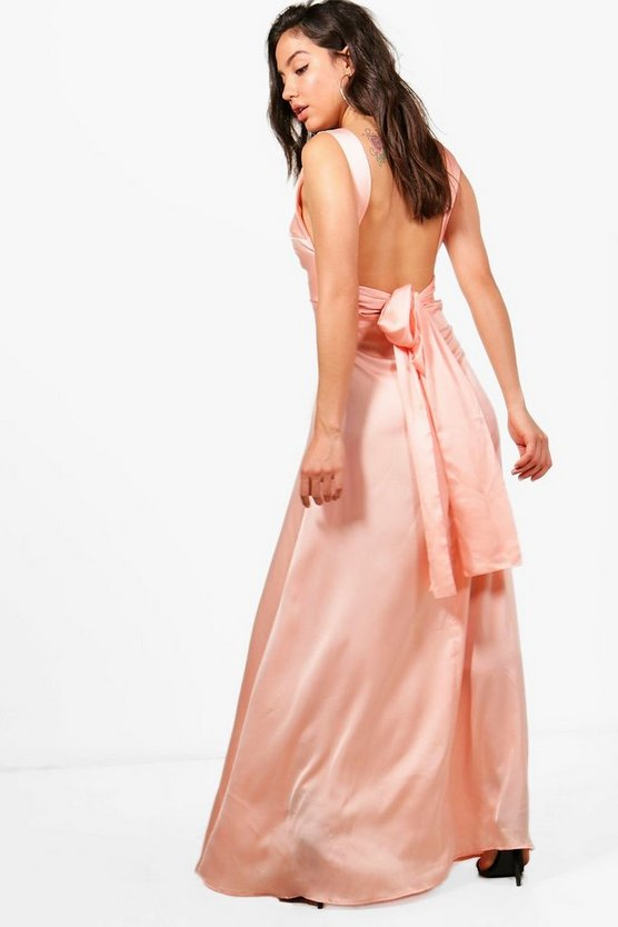 Lottie Satin Bow Back Maxi Dress