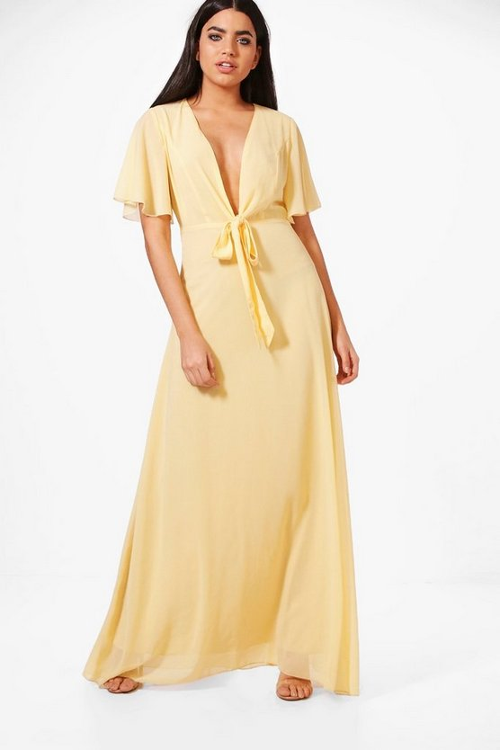 Sophia Bow Front Chiffon Maxi Dress