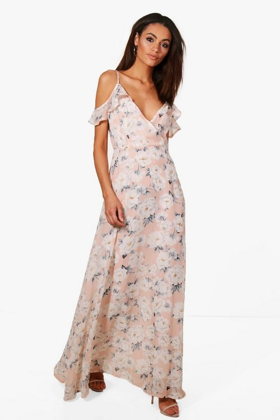 Clare Floral Print Cold Shoulder Maxi Dress