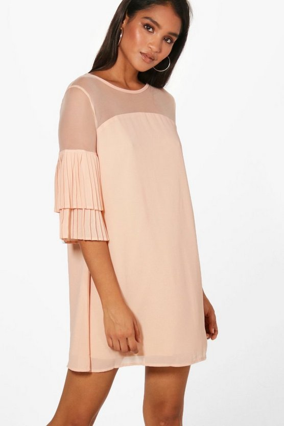 Mesh Top Ruffle Sleeve Shift Dress