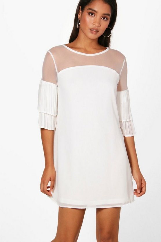 Joanne Mesh Top Ruffle Sleeve Shift Dress