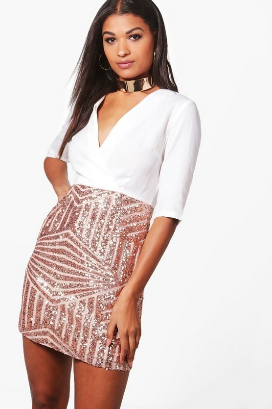 Boutique Jessie Sequin Skirt Bodycon Dress