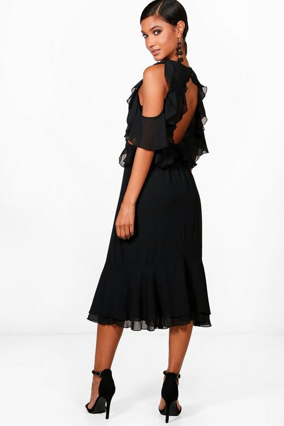 Jaclyn Frill Open Back Midi Dress