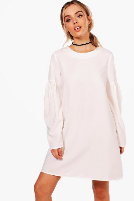 Aanna Volumised Sleeve Shift Dress