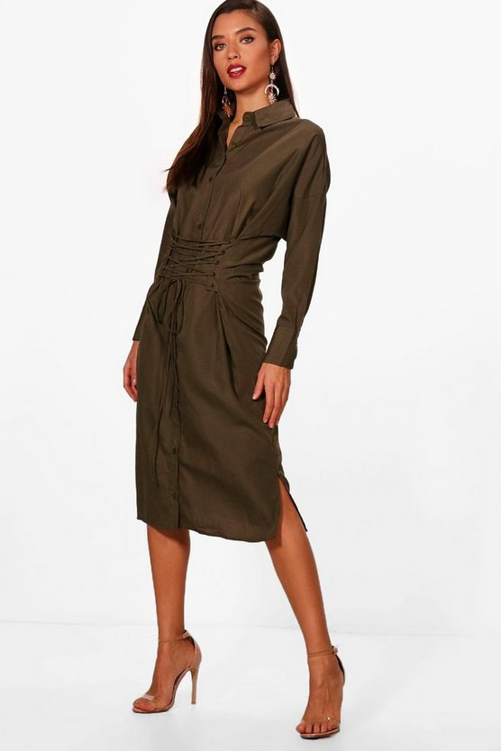 Olivia Corset Lace Up Waist Midi Shirt Dress