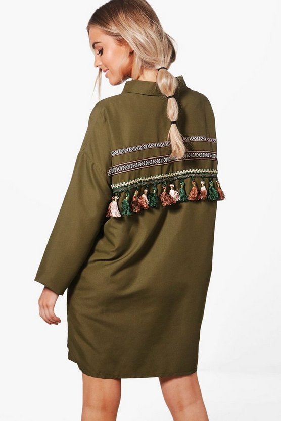 Natalie Tassel Trim Back Shirt Dress