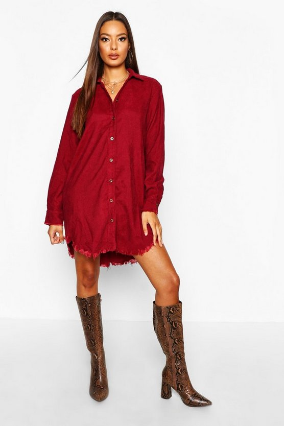 Lucie Distressed Baby Cord Shirt Dress