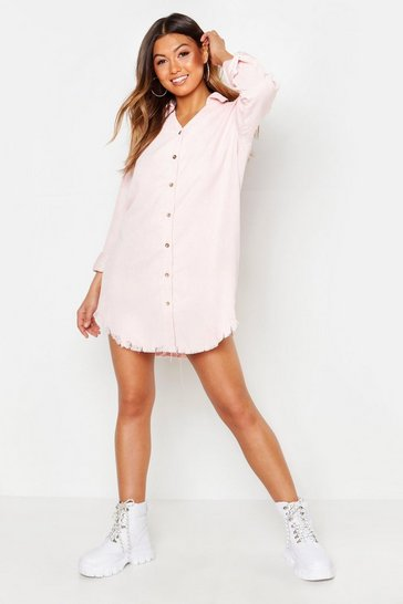 Powder pink Distressed Baby Cord Shirt Dress