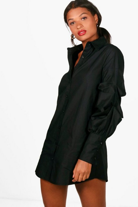 Tanya Rouched Sleeve Shirt Dress