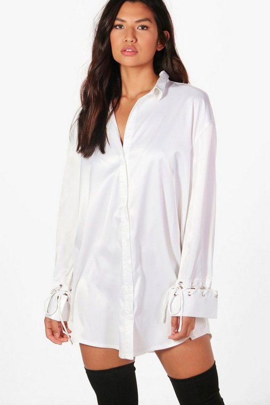 Freya Wrap Front Lace Up Cuff Shirt Dress