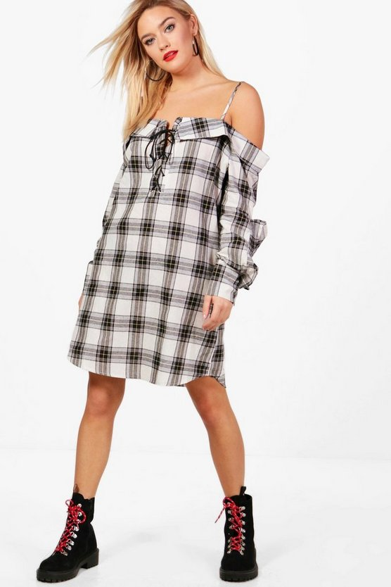Lucie Check Lace Up Ruffle Shirt Dress