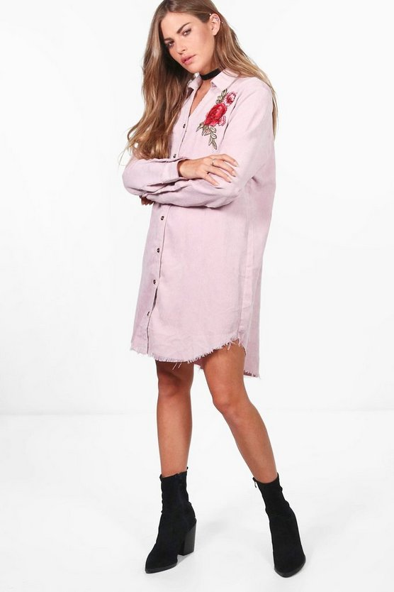 Embroidered Baby Cord Distressed Edge Shirt Dress
