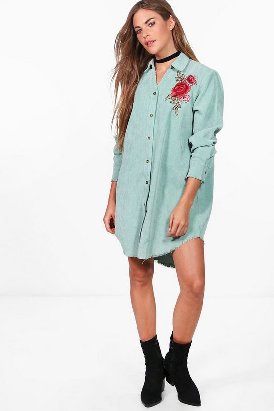 Dina Embroidered Baby Cord Distressed Edge Shirt Dress