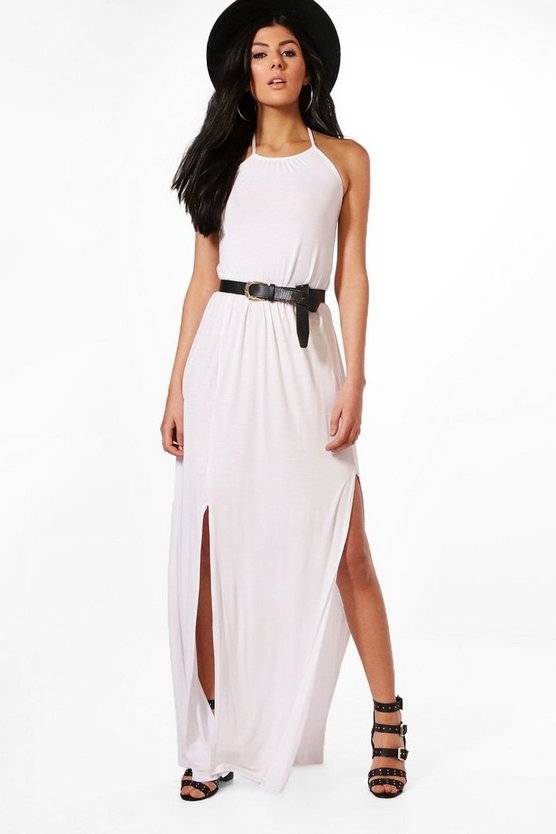 Rebecca High Neck Split Front Maxi Dress