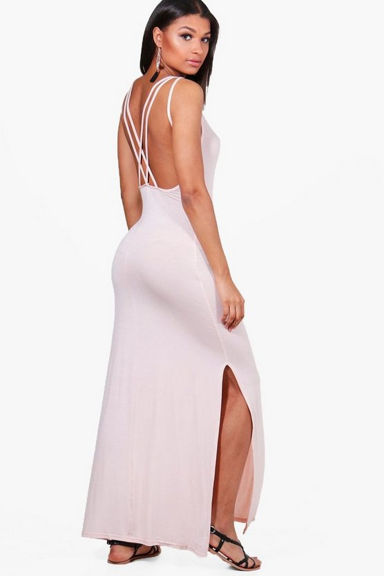 Joanna Multi Strap Cross Back Maxi Dress