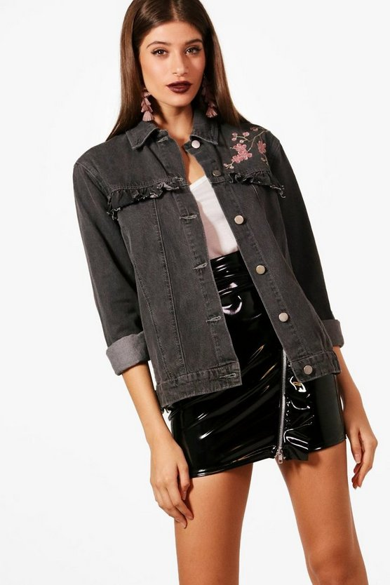 Iliana Ruffle Embroidered Denim Jacket