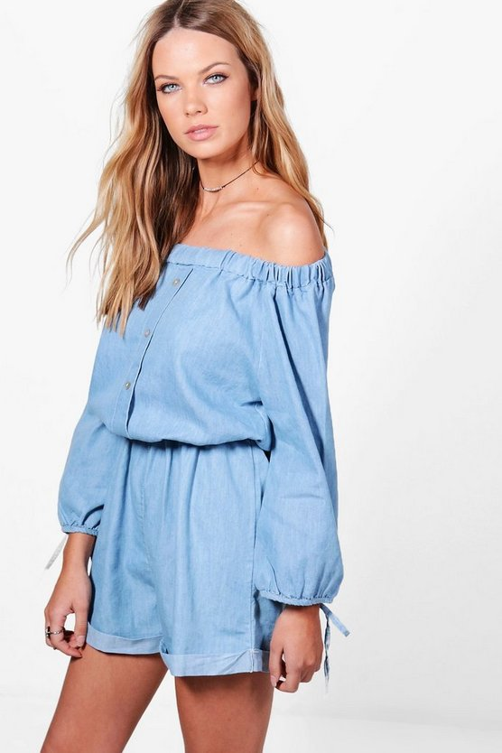 Olivia Off The Shoulder Denim Playsuit