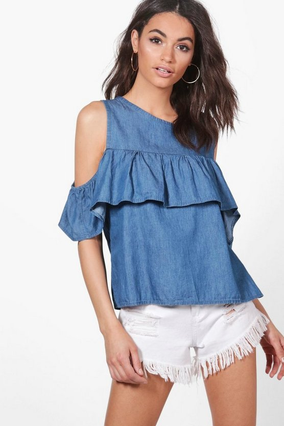Lila Ruffle Cold Shoulder Denim Top