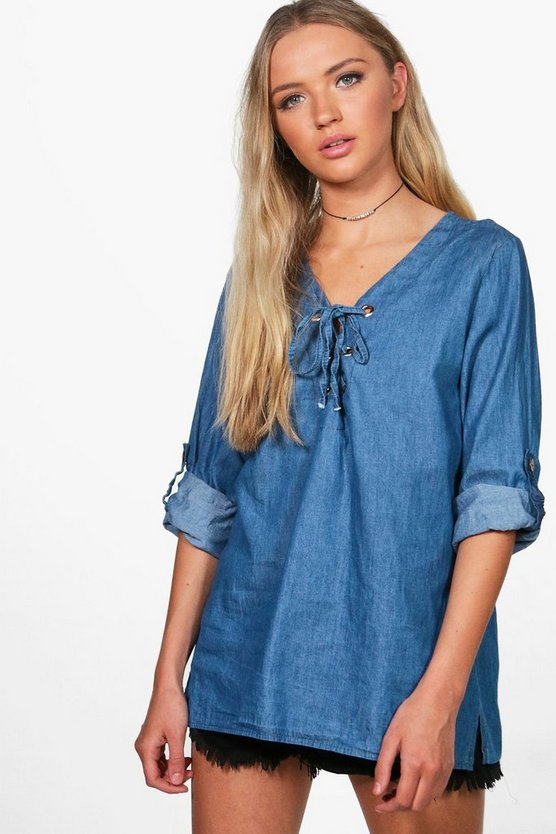 Ellie Eyelet Lace Up Denim Top