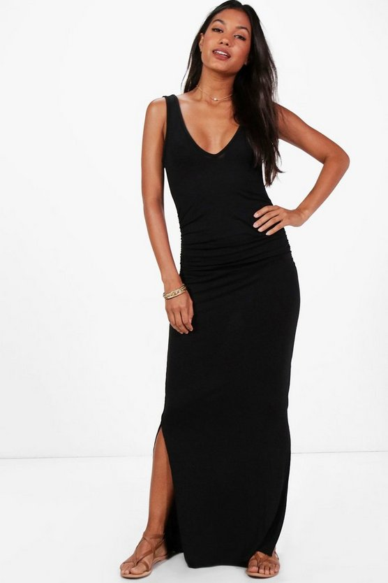 Lily V Neck Side Split Ruched Waist Maxi Dress