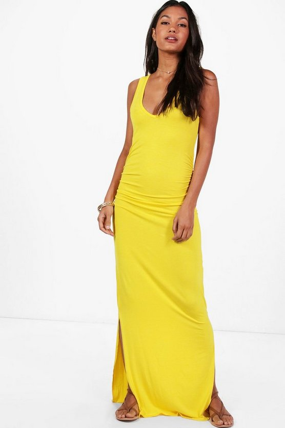 V Neck Side Split Ruched Waist Maxi Dress