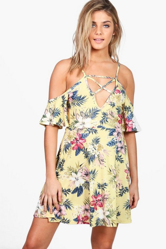 Lola Floral Strappy Cold Shoulder Skater Dress