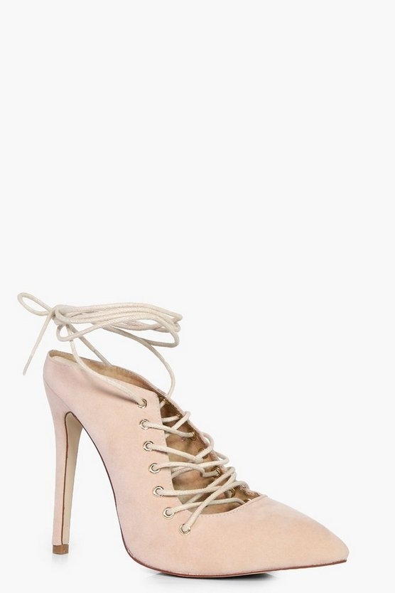 Mollie Pointed Toe Ghillie Heel Open Backs