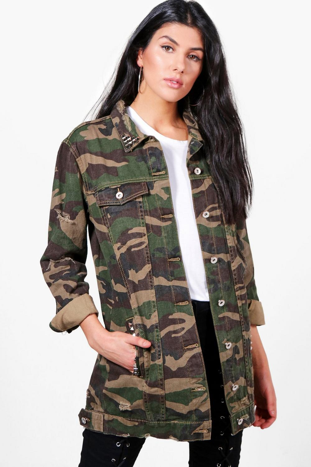 shoptagr janine camo studded longline denim jacket by boohoo. Black Bedroom Furniture Sets. Home Design Ideas