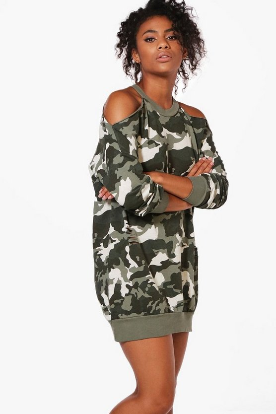 Charlotte Camo Open Shoulder Dress