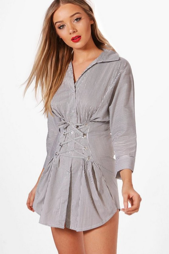 Corset Detail Striped Shirt Dress