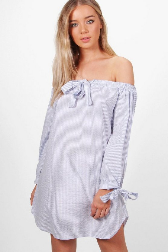 Lottie Off The Shoulder Striped Tie Front Dress