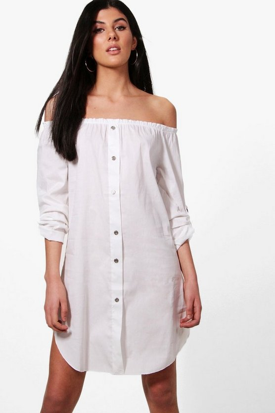 Freyja Button Front Off Shoulder Cotton Sundress